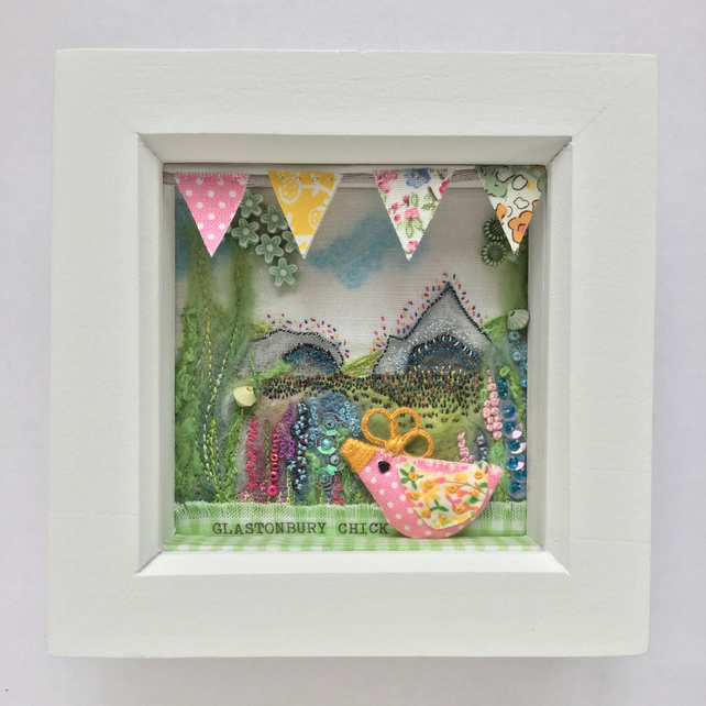 "Shadow box frame ""Glastonbury Chick"""