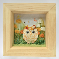 "Shadow box frame ""Honey"" the owl."