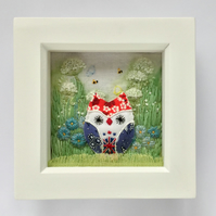 "Shadow box frame ""Liberty"" the owl."