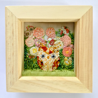 "Shadow box frame, ""Hetty"" owl."