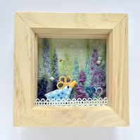 "Shadow box frame ""Little blue chick"""