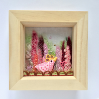 "Shadow box frame. ""Dottie the pink chick"""