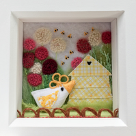 "Shadow box frame. ""The bee hive chick"""