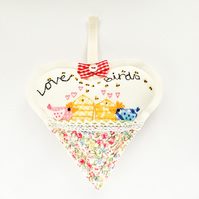 "Hanging Heart.""Love birds"""