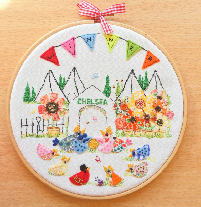 """Chelsea Winners"" Embroidered hoop art."
