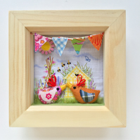 Shadow box frame square  Margo & Jerry & sweet peas