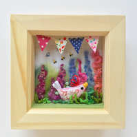 Shadow box frame square Little Pink Chick.