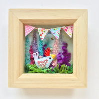Shadow box frame square Little Blue Chick.