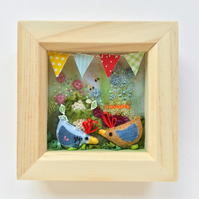 Shadow box frame Tom & Barbara veg plot chickens.