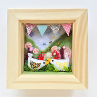 "Shadow box frame square ""Hill billy chicks"""