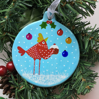 "Hand painted ceramic bauble ""Chicken & pud"""