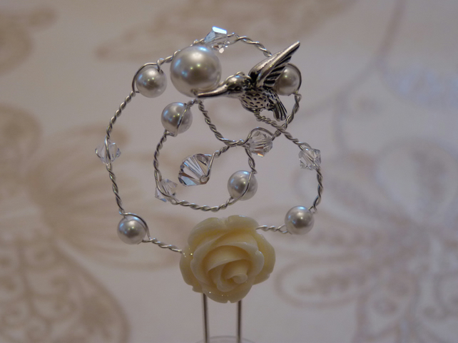 Edie.  A dainty hairpin featuring a rose and sweet little hummingbird.