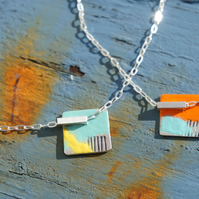 Unusual Sterling Silver & Enamel Necklace, Unique colourful necklace