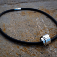 Sterling Silver & Rubber Necklace, Rubber Necklace, Quirky Necklace,