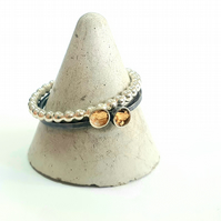 Set of 2 stacking rings, sterling silver with gold leaf
