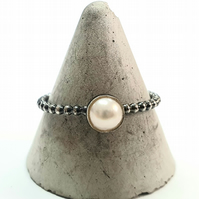 Fresh water cultured pearl stacking ring, sterling silver ball band, oxidized