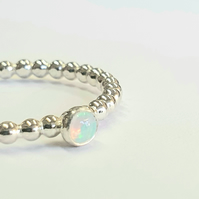 Opal ring, handmade sterling silver ball band ring, unique ring, stacking ring