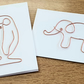 Wire art cards, elephant card, penguin card, blank greetings card