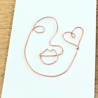 Abstract wire faces greetings cards, wire art, blank card