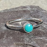 Sterling Silver & Turquoise Skinny Ring, Stacking Ring