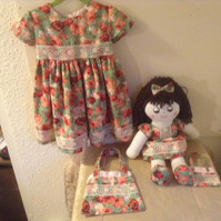 Hand made little 3 yrs old Party dress with matching Rag Doll