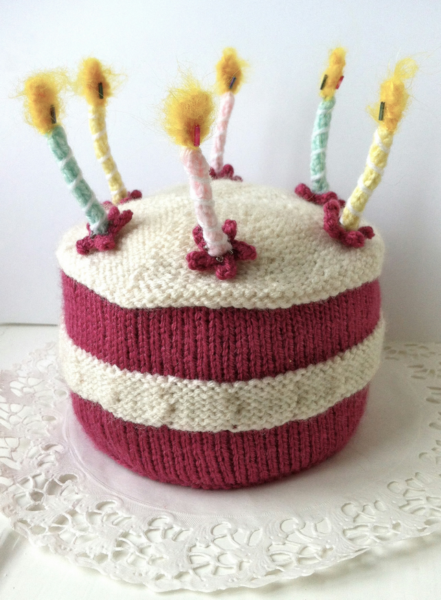 Knitting Birthday Cake Images : Birthday cake with lit candles knitting pattern folksy