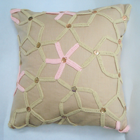 Beige linen crochet starfish cushion cover