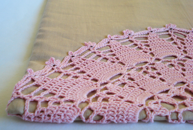 Beige linen crochet cover with pink beaded crochet panel