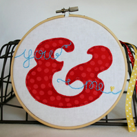 'You & Me' Embroidery and Appliqué Hoop Art Valentine