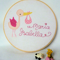 'Personalised Name' Nursery Hoop Art Sampler - MADE TO ORDER