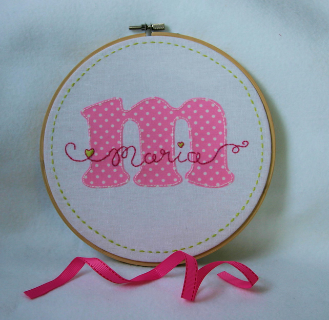 'Personalised Name' Embroidery and Appliqué Monogram Hoop Art - MADE TO ORDER