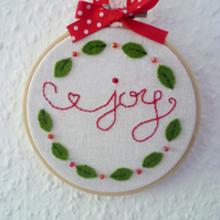 'Joy' with holly - Christmas embroidered hoop art