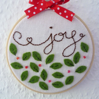 'Joy' with holly leaves - Christmas embroidered hoop art