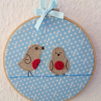 'Robins chirping in the snow' Christmas hoop - Embroidery Applique art