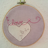 'Love' Embroidery and appliqué Hoop Art - vintage cloth heart