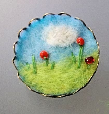 Needle-felted textile brooch pin - red flower scenery- MADE TO ORDER