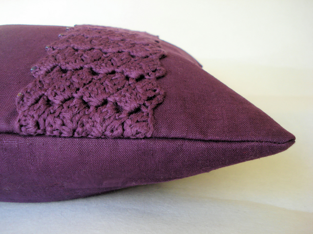 Plum cushion cover with beaded crochet panel