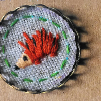 Textile brooch Pin - hand embroidered Hedgehog