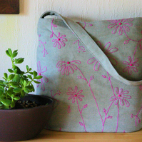 Hand-embroidered linen shoulder bag - pink wildflowers