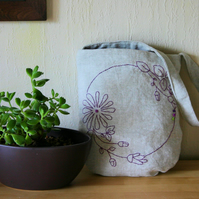 Hand-embroidered linen small shoulder bag - plum flowers