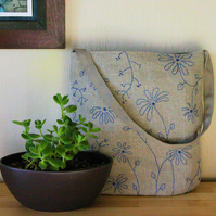 Hand-embroidered linen shoulder bag - blue wildflowers