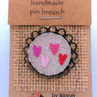 Textile brooch Pin - hand embroidered Hearts