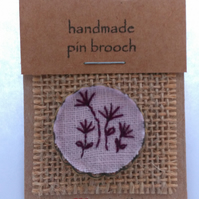 Textile brooch Pin - hand embroidered Flower 4