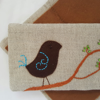 Linen Embroidered Needlebook Sew kit  Bird on a Branch 1