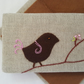 Linen Embroidered Needlebook Sew kit Bird on a Branch 2