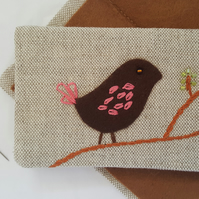 Linen Embroidered Needlebook Sew kit Bird on a Branch 3