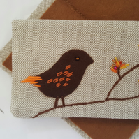 Linen Embroidered Needlebook Sew kit Bird on a Branch 4