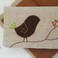 Linen Embroidered Needlebook Sew kit Bird on a Branch 5