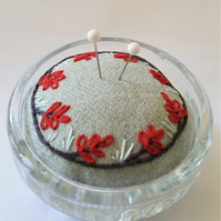 Embroidered pincushion - red leaves in vintage glass dish