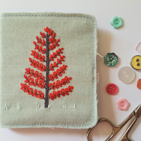 Embroidered needle case - red leaves